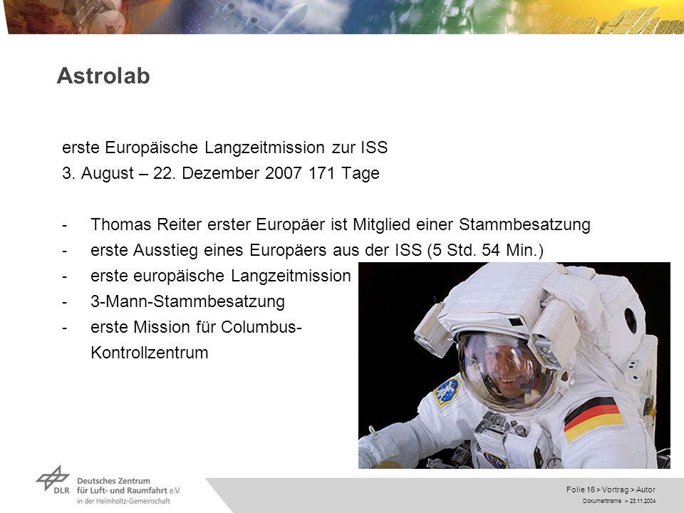 Dokumentname > 23.11.2004 Folie 16 > Vortrag > Autor Astrolab erste Europäische Langzeitmission zur ISS 3. August – 22. Dezember 2007 171 Tage - Thoma