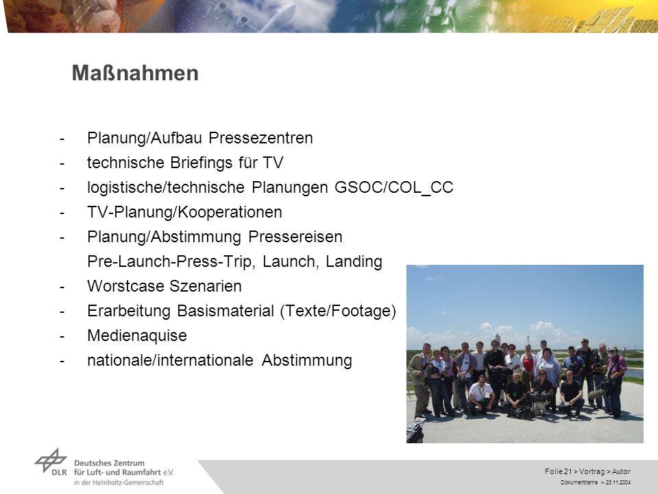 Dokumentname > 23.11.2004 Folie 21 > Vortrag > Autor Maßnahmen - Planung/Aufbau Pressezentren - technische Briefings für TV - logistische/technische P