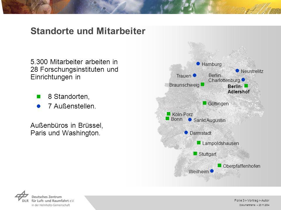 Dokumentname > 23.11.2004 Folie 3 > Vortrag > Autor Standorte und Mitarbeiter 5.300 Mitarbeiter arbeiten in 28 Forschungsinstituten und Einrichtungen