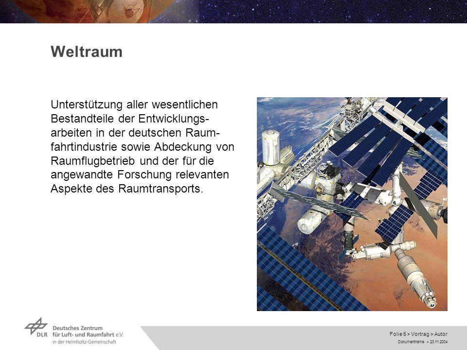 Dokumentname > 23.11.2004 Folie 5 > Vortrag > Autor Weltraum Unterstützung aller wesentlichen Bestandteile der Entwicklungs- arbeiten in der deutschen