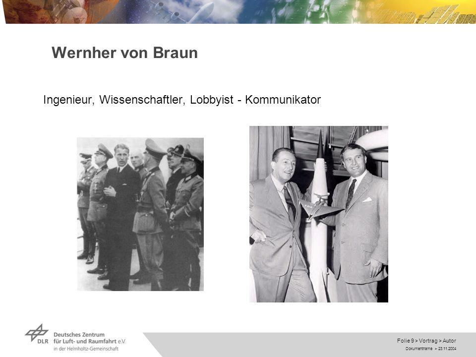 Dokumentname > 23.11.2004 Folie 10 > Vortrag > Autor Wernher von Braun Ingenieur, Wissenschaftler, Lobbyist - Kommunikator
