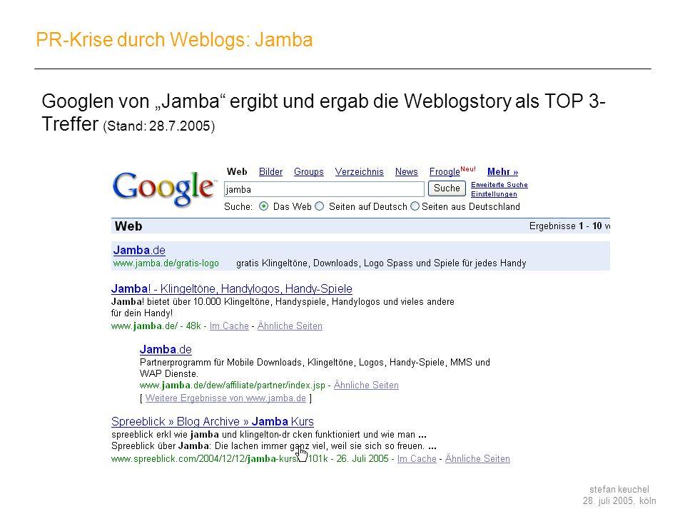 stefan keuchel 28. juli 2005, köln PR-Krise durch Weblogs: Jamba Googlen von Jamba ergibt und ergab die Weblogstory als TOP 3- Treffer (Stand: 28.7.20