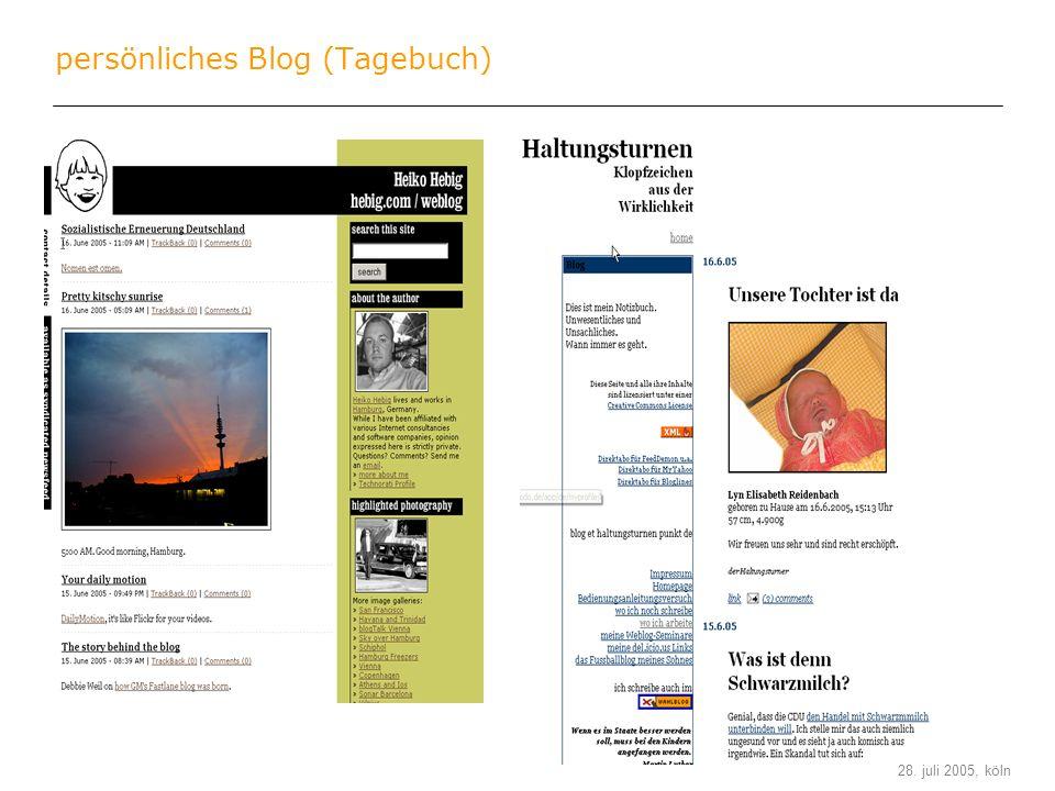 stefan keuchel 28. juli 2005, köln persönliches Blog (Tagebuch)