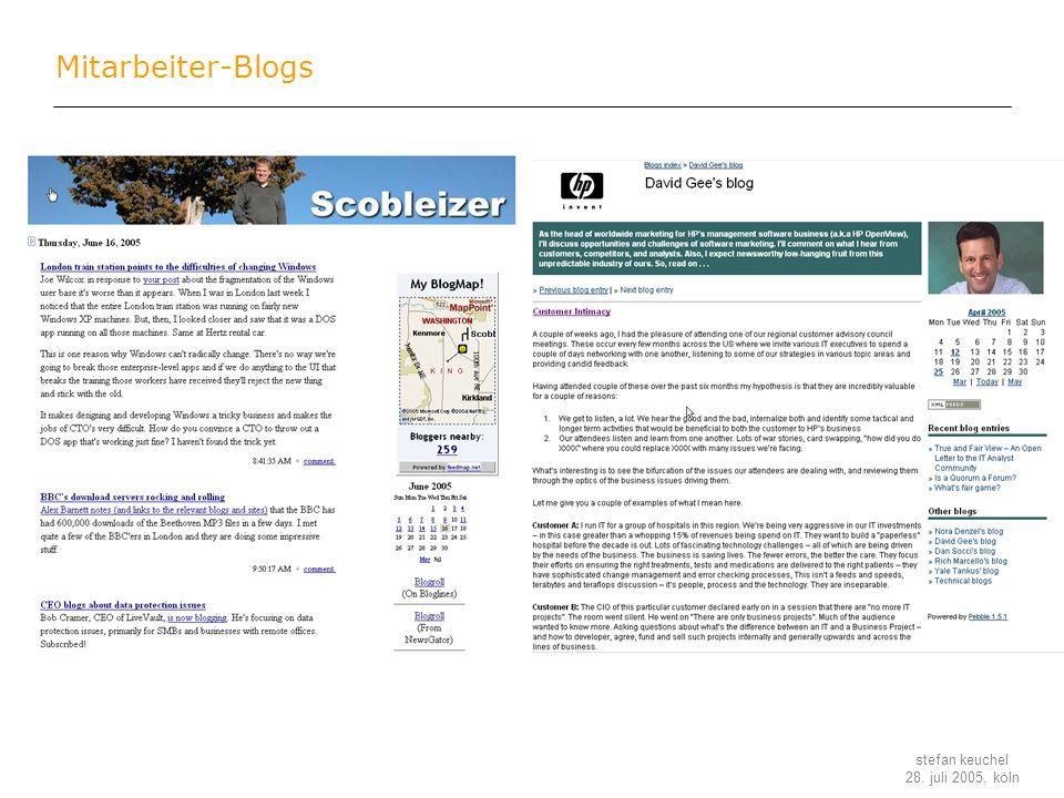 stefan keuchel 28. juli 2005, köln Mitarbeiter-Blogs