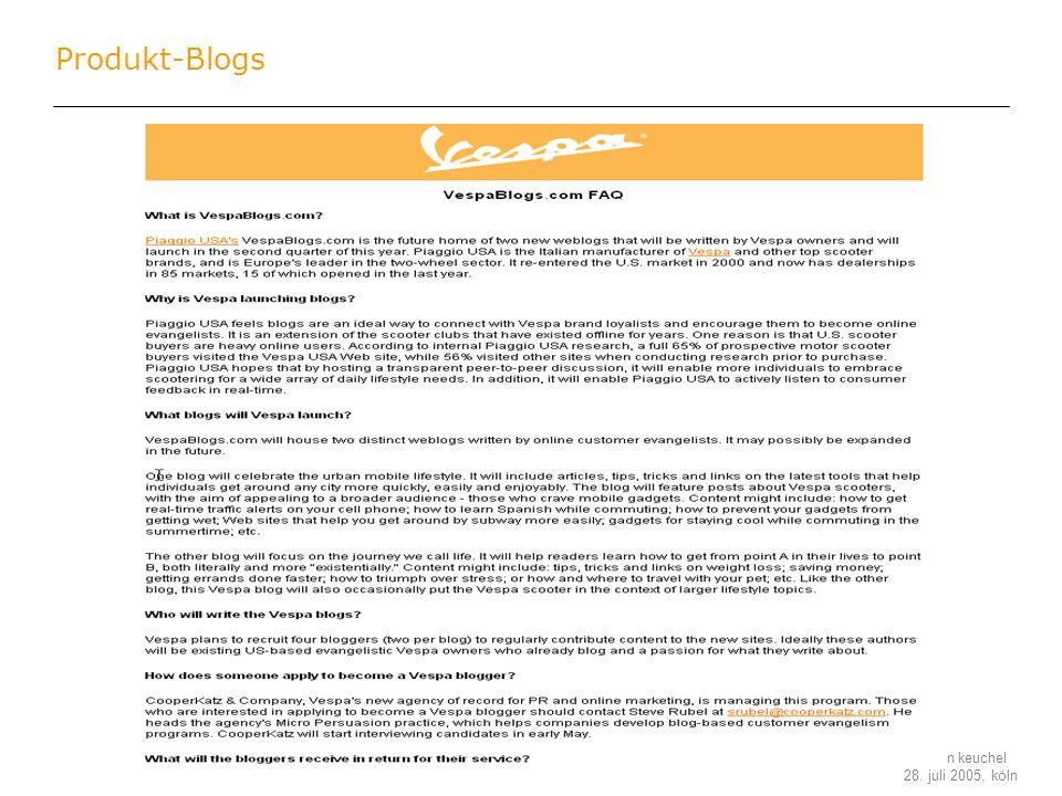 stefan keuchel 28. juli 2005, köln Produkt-Blogs