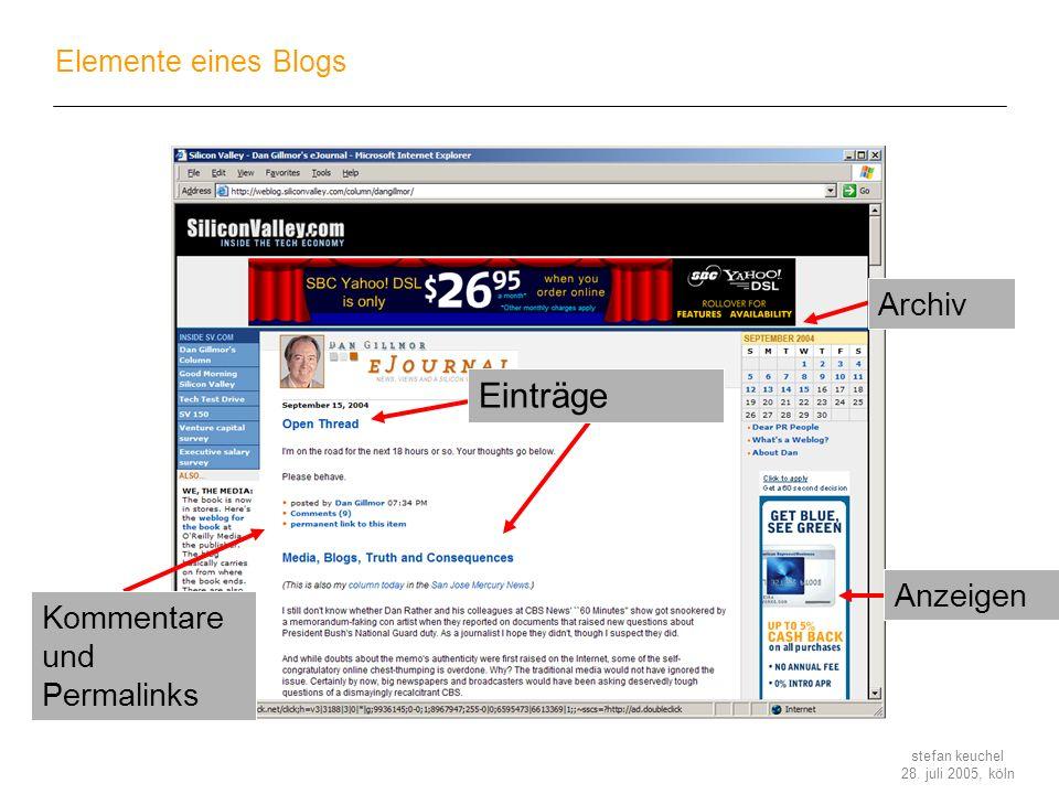 stefan keuchel 28. juli 2005, köln Elemente eines Blogs Archiv Anzeigen Kommentare und Permalinks Einträge