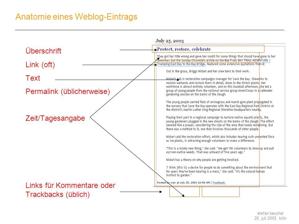 stefan keuchel 28. juli 2005, köln Anatomie eines Weblog-Eintrags Überschrift Link (oft) Text Permalink (üblicherweise) Zeit/Tagesangabe Links für Kom