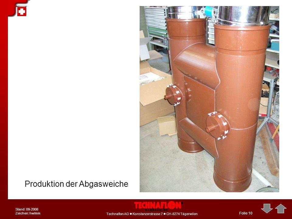 Technaflon AG Konstanzerstrasse 7 CH-8274 Tägerwilen Stand: 09-2008 Zeichen: hw/mm Folie 10 Produktion der Abgasweiche