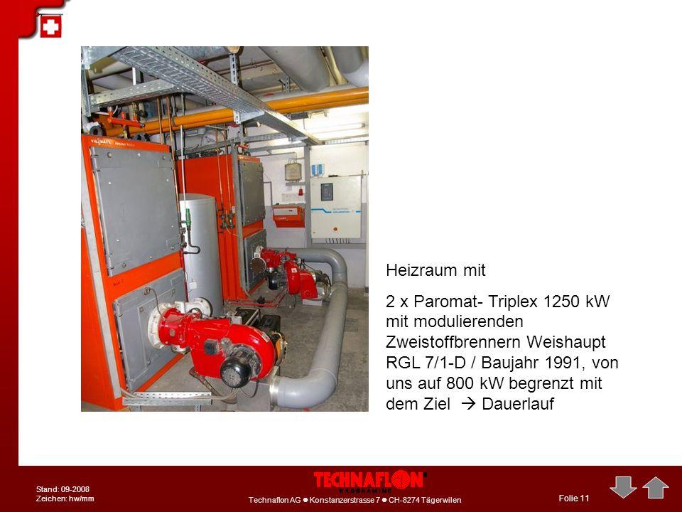 Technaflon AG Konstanzerstrasse 7 CH-8274 Tägerwilen Stand: 09-2008 Zeichen: hw/mm Folie 11 Heizraum mit 2 x Paromat- Triplex 1250 kW mit modulierende