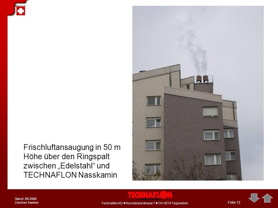 Technaflon AG Konstanzerstrasse 7 CH-8274 Tägerwilen Stand: 09-2008 Zeichen: hw/mm Folie 13 Frischluftansaugung in 50 m Höhe über den Ringspalt zwisch