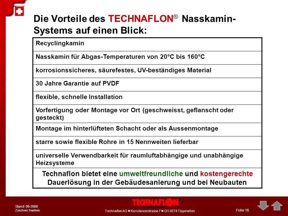 Technaflon AG Konstanzerstrasse 7 CH-8274 Tägerwilen Stand: 09-2008 Zeichen: hw/mm Folie 16 Die Vorteile des TECHNAFLON ® Nasskamin- Systems auf einen