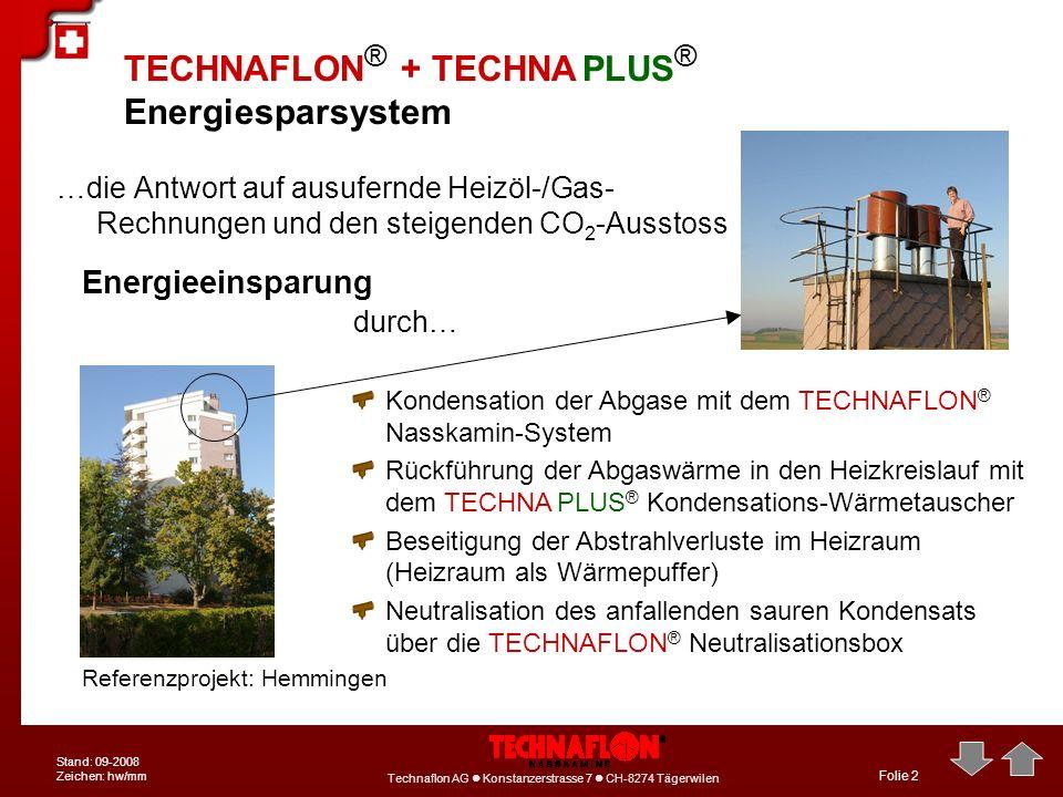 Technaflon AG Konstanzerstrasse 7 CH-8274 Tägerwilen Stand: 09-2008 Zeichen: hw/mm Folie 2 TECHNAFLON ® + TECHNA PLUS ® Energiesparsystem …die Antwort