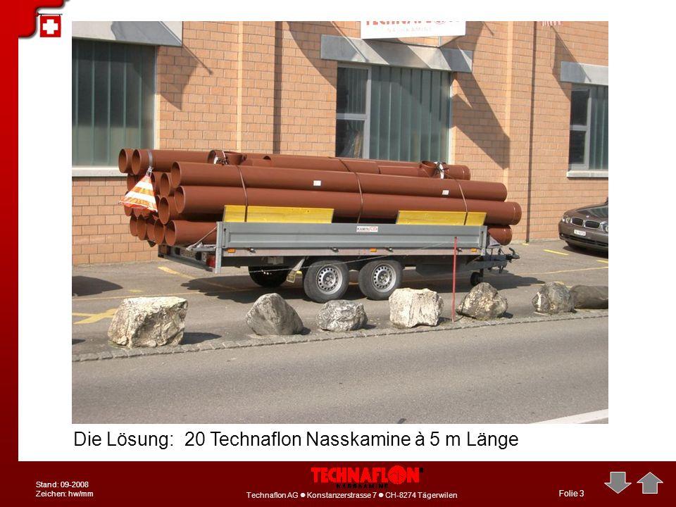 Technaflon AG Konstanzerstrasse 7 CH-8274 Tägerwilen Stand: 09-2008 Zeichen: hw/mm Folie 3 Die Lösung: 20 Technaflon Nasskamine à 5 m Länge