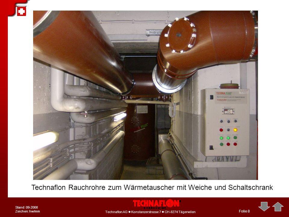 Technaflon AG Konstanzerstrasse 7 CH-8274 Tägerwilen Stand: 09-2008 Zeichen: hw/mm Folie 8 Technaflon Rauchrohre zum Wärmetauscher mit Weiche und Scha