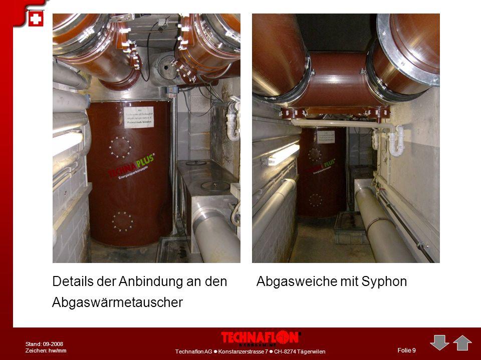 Technaflon AG Konstanzerstrasse 7 CH-8274 Tägerwilen Stand: 09-2008 Zeichen: hw/mm Folie 9 Details der Anbindung an den Abgaswärmetauscher Abgasweiche