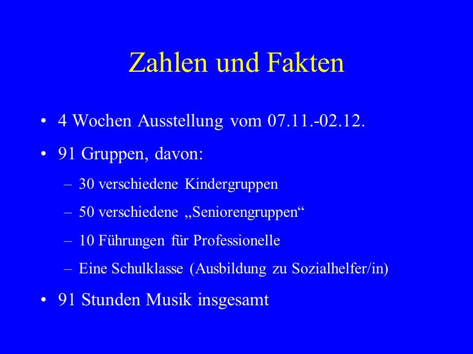 Zahlen und Fakten 4 Wochen Ausstellung vom 07.11.-02.12. 91 Gruppen, davon: –30 verschiedene Kindergruppen –50 verschiedene Seniorengruppen –10 Führun