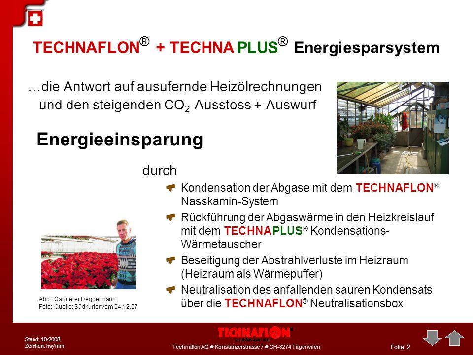Folie: 3 Technaflon AG Konstanzerstrasse 7 CH-8274 Tägerwilen Tel: +41 71 6668-111 info@technaflon.com Technaflon AG Konstanzerstrasse 7 CH-8274 Tägerwilen Stand: 10-2008 Zeichen: hw/mm Projekt: Gärtnerei Deggelmann / Insel Reichenau Das TECHNAFLON ® / TECHNA PLUS ® - Energiesparsystem bei der Fa.