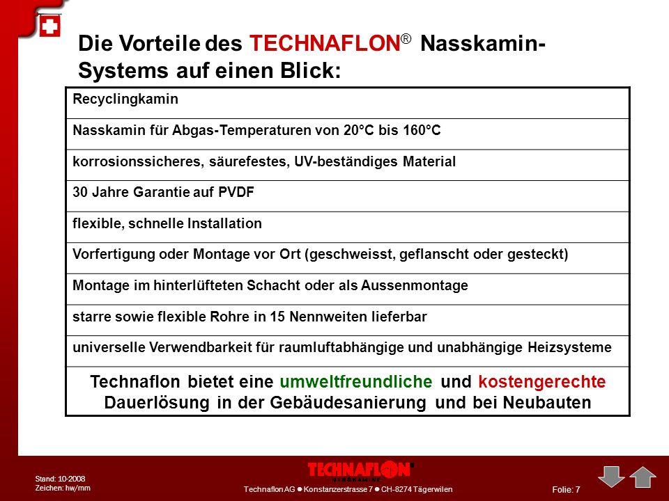 Folie: 8 Technaflon AG Konstanzerstrasse 7 CH-8274 Tägerwilen Tel: +41 71 6668-111 info@technaflon.com Technaflon AG Konstanzerstrasse 7 CH-8274 Tägerwilen Stand: 10-2008 Zeichen: hw/mm Verknüpfung TECHNAFLON ® Nasskamin-System mit TECHNA PLUS ® Abgaswärmetauscher: 12 Komponenten 1KaminTechnaflon ® Nasskamin 2AbgastemperaturSenkung (von bis zu 180°C) auf 35 – 50°C 3BrennerleistungReduzierung der Brennerleistung auf die tatsächlich nötige Leistung 4WärmeaustauschTechna Plus ® Abgaswärmetauscher 5Brennerstarts pro TagMöglichst lange Laufzeiten, bis zum Dauerbetrieb 6Nachtabsenkungnein 7BelüftungTechnaflon ® Nasskamin, aktiv hinterlüftet 8Abgasgeschwindigkeitso langsam wie möglich 9Frischlufttemperaturkonstant vorgewärmt aus dem Ringspalt (z.B.