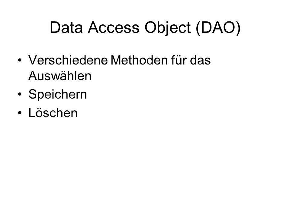 Data Access Object (DAO) Verschiedene Methoden für das Auswählen Speichern Löschen