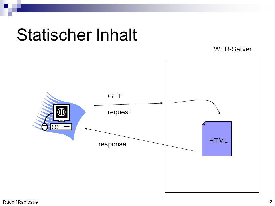 13 Rudolf Radlbauer Lebenszyklus der Komponenten Servlet-Engine (ist ein Java-Programm) … mehrere Threads warten auf Requests instanziieren bei Bedarf Servlets rufen Initialisierungs-Methoden Servlet init(…) rufen HTTP-Methoden doPost(…) / doGet(…)