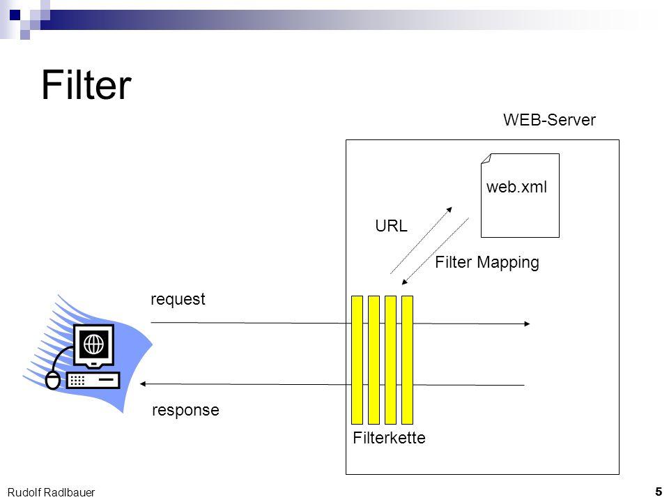 16 Rudolf Radlbauer Kontext-Objekte Servlet-Kontext 1x für die WEB-Applikation Session-Kontext 1x pro Client-Session Request-Kontext 1x pro HTTP-Request Page-Kontext 1x pro Java Server Page (JSP) an jedes Kontext-Objekt können andere beliebige Objekte als Attribute angehängt werden.