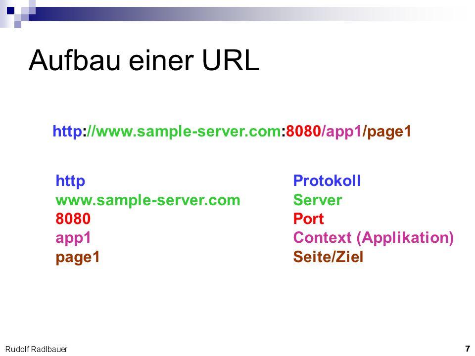 8 Rudolf Radlbauer Request Routing www.sample-server.com WEB-Server server.xml Context- Eintrag app1 WEB-Applikation page1 Filter Servlet web.xml Filter- mapping Servlet- mapping 8080