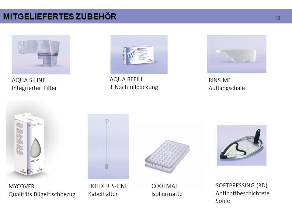 MITGELIEFERTES ZUBEHÖR AQUA S-LINE Integrierter Filter AQUA REFILL 1 Nachfüllpackung SOFTPRESSING (3D) Antihaftbeschichtete Sohle COOLMAT Isoliermatte