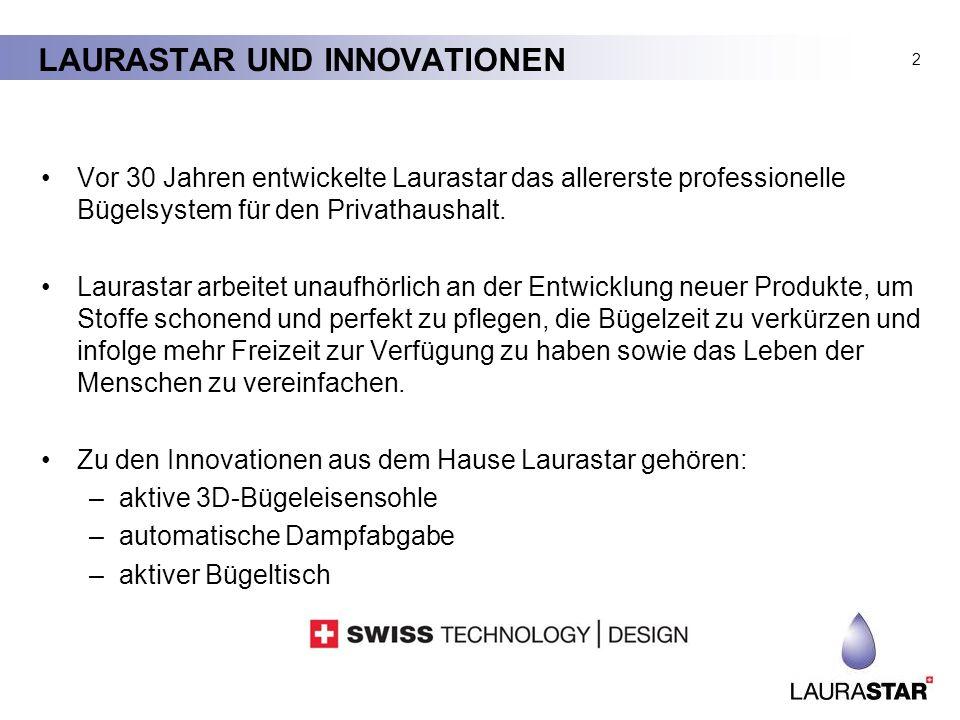 LAURASTAR UND INNOVATIONEN Vor 30 Jahren entwickelte Laurastar das allererste professionelle Bügelsystem für den Privathaushalt. Laurastar arbeitet un