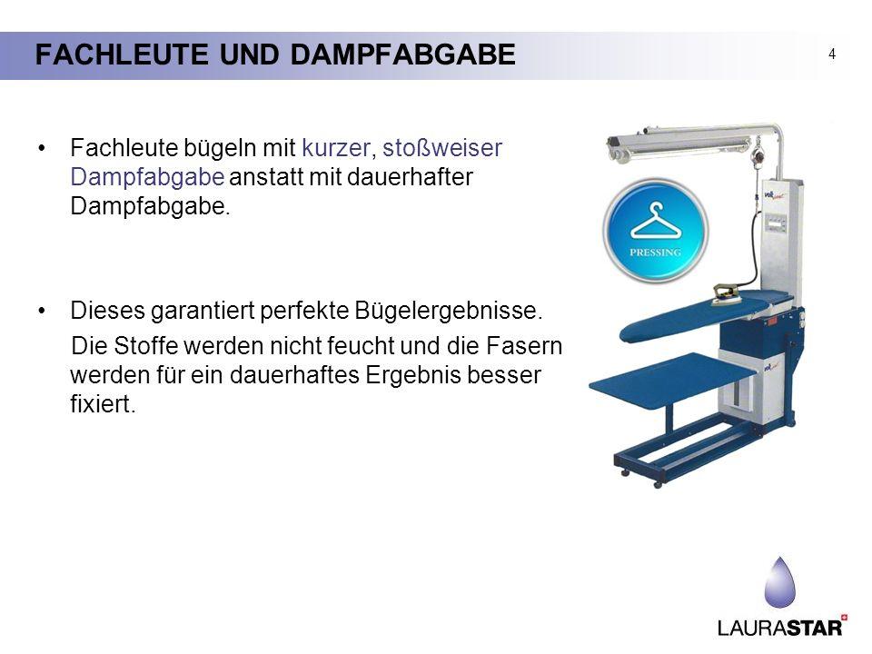 FACHLEUTE UND DAMPFABGABE Fachleute bügeln mit kurzer, stoßweiser Dampfabgabe anstatt mit dauerhafter Dampfabgabe. Dieses garantiert perfekte Bügelerg