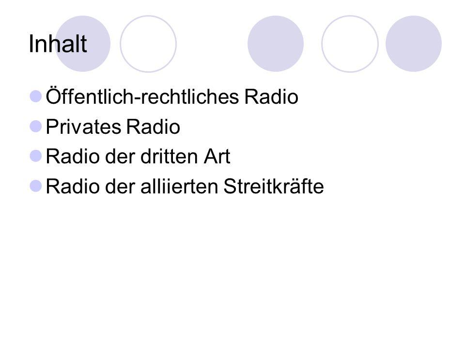 Inhalt Öffentlich-rechtliches Radio Privates Radio Radio der dritten Art Radio der alliierten Streitkräfte