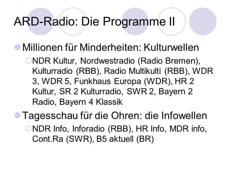 ARD-Radio: Die Programme II Millionen für Minderheiten: Kulturwellen NDR Kultur, Nordwestradio (Radio Bremen), Kulturradio (RBB), Radio Multikulti (RB
