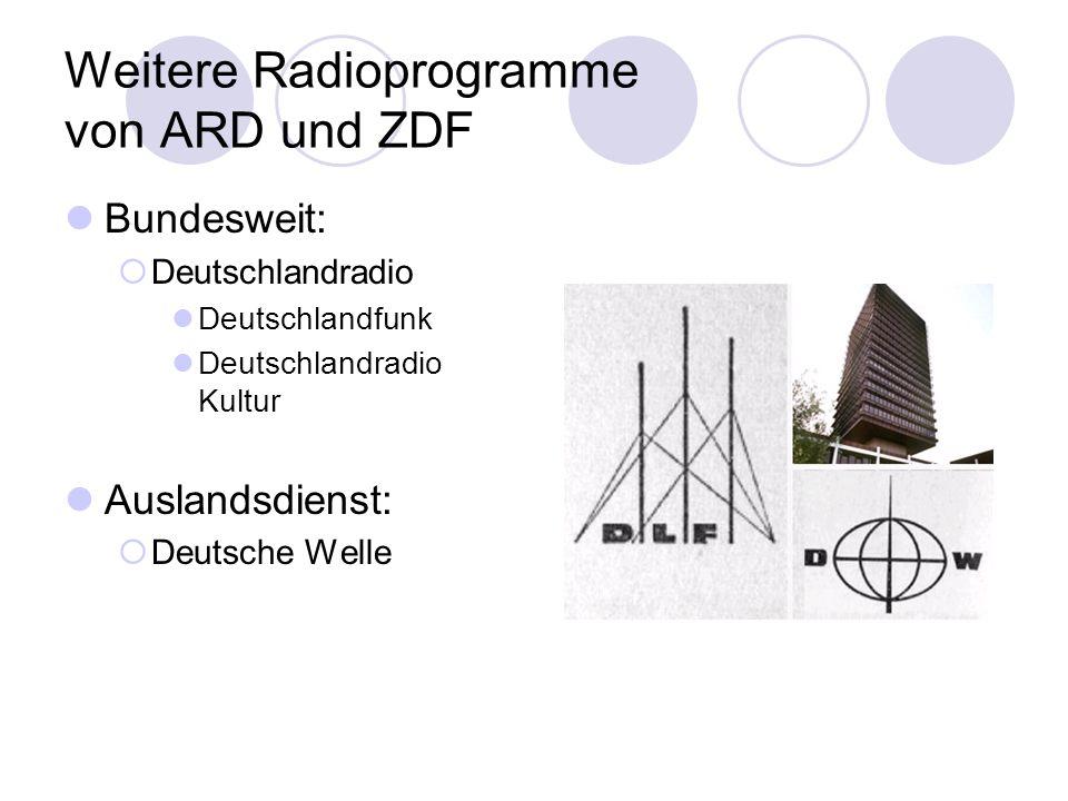 Weitere Radioprogramme von ARD und ZDF Bundesweit: Deutschlandradio Deutschlandfunk Deutschlandradio Kultur Auslandsdienst: Deutsche Welle