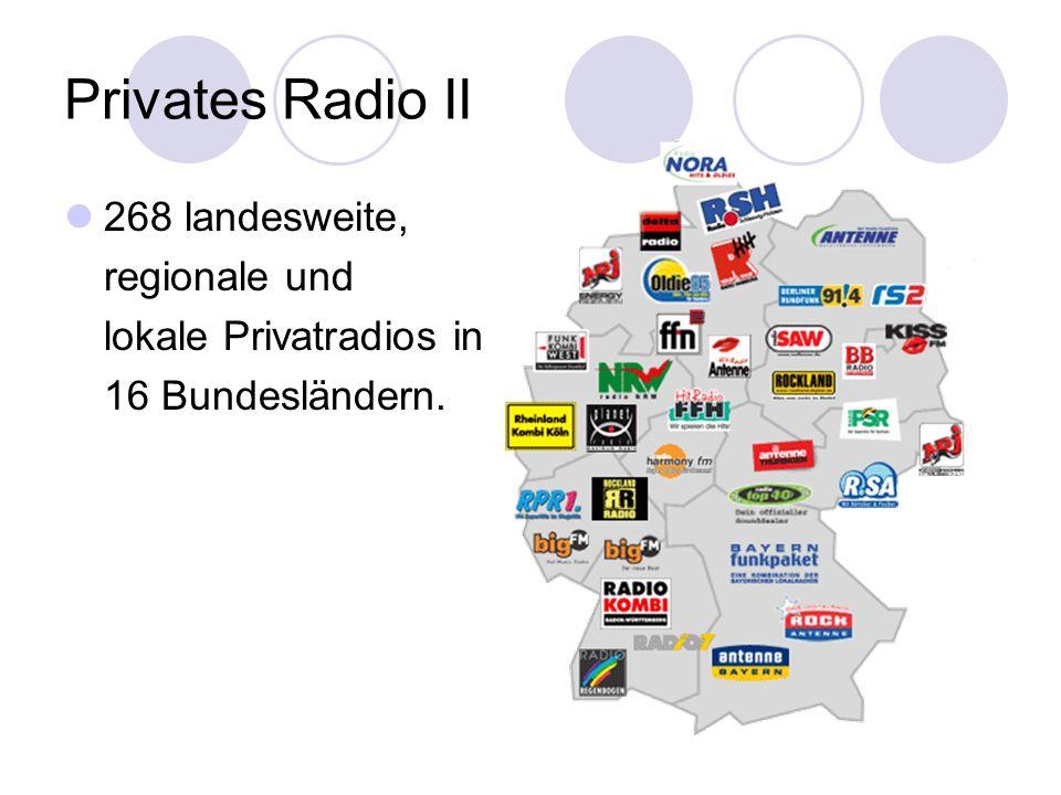 Privates Radio II 268 landesweite, regionale und lokale Privatradios in 16 Bundesländern.