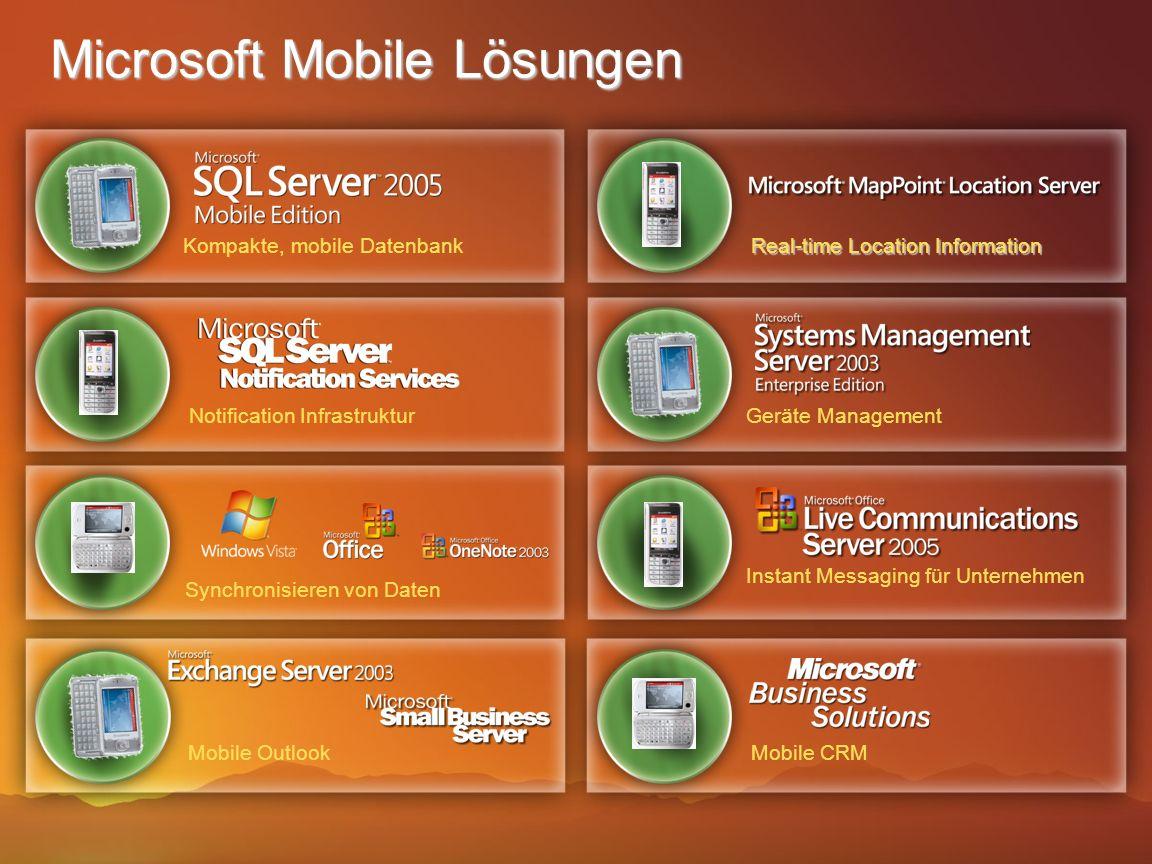 Microsoft Mobile Lösungen Real-time Location Information Kompakte, mobile Datenbank Notification InfrastrukturGeräte Management Synchronisieren von Da