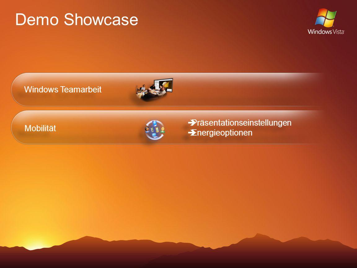 Demo Showcase Windows Teamarbeit Mobilität Präsentationseinstellungen Energieoptionen Präsentationseinstellungen Energieoptionen
