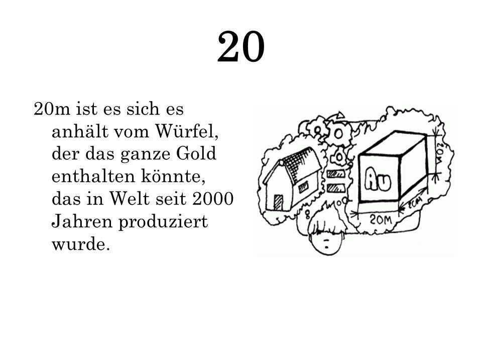 20 20m ist es sich es anhält vom Würfel, der das ganze Gold enthalten könnte, das in Welt seit 2000 Jahren produziert wurde.