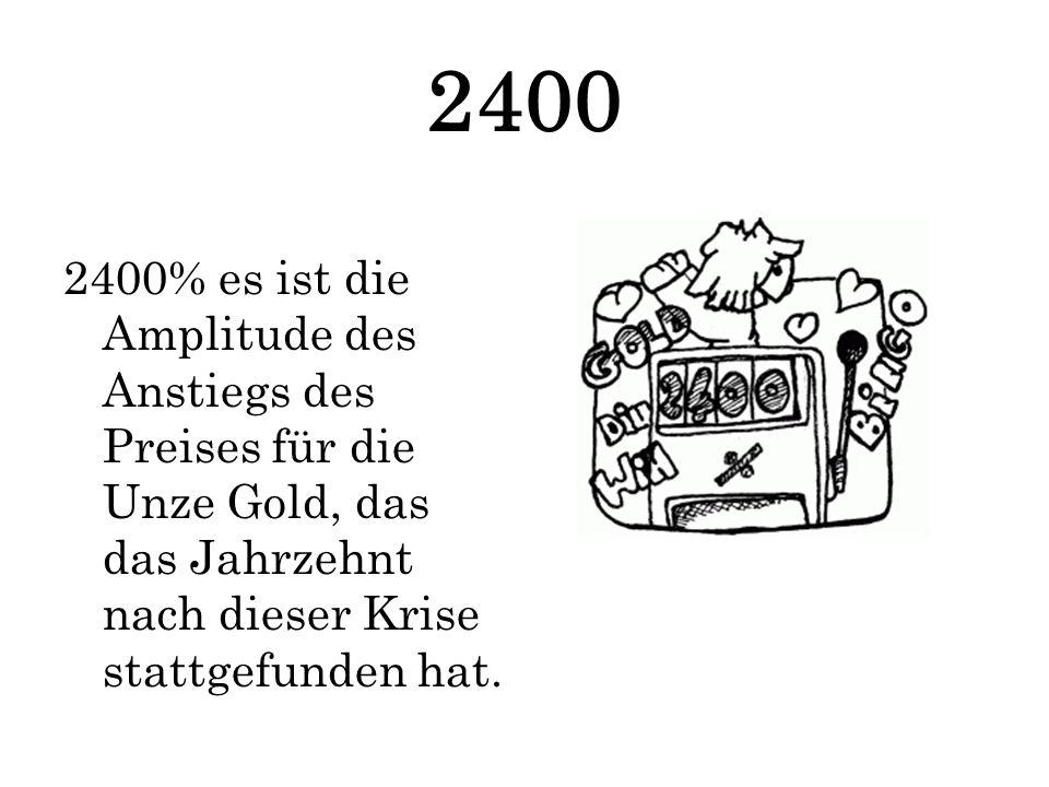 2400 2400% es ist die Amplitude des Anstiegs des Preises für die Unze Gold, das das Jahrzehnt nach dieser Krise stattgefunden hat.