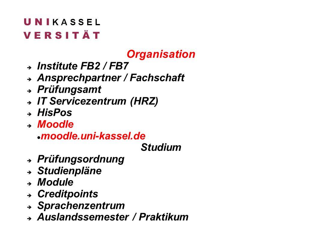 Organisation Institute FB2 / FB7 Ansprechpartner / Fachschaft Prüfungsamt IT Servicezentrum (HRZ) HisPos Moodle moodle.uni-kassel.de Studium Prüfungso