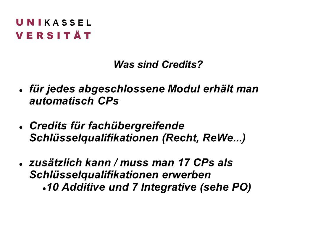 U N I K A S S E L V E R S I T Ä T Was sind Credits? für jedes abgeschlossene Modul erhält man automatisch CPs Credits für fachübergreifende Schlüsselq