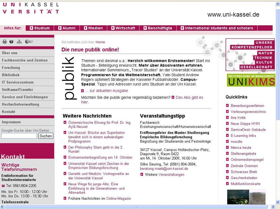 U N I K A S S E L V E R S I T Ä T ¡Wichtige Zusatzinformation zur Bibliothek.