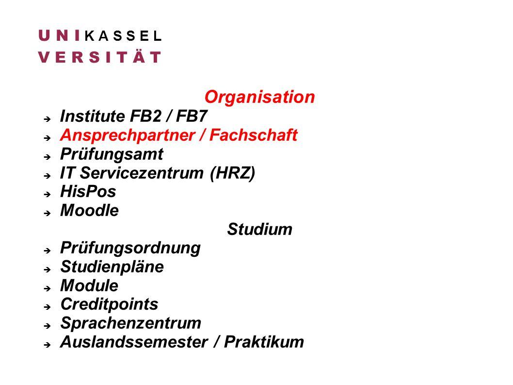 Organisation Institute FB2 / FB7 Ansprechpartner / Fachschaft Prüfungsamt IT Servicezentrum (HRZ) HisPos Moodle Studium Prüfungsordnung Studienpläne M