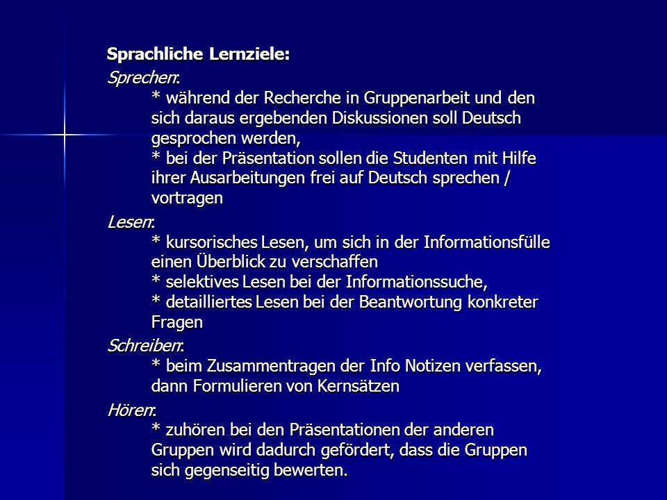 Lernziele des WebQuests Zielgruppe: DeutschlernerInnen ab dem Sprachniveau B2 Landeskundliches Lernziel: Sich anhand konkreter Aufgaben mit Festen und
