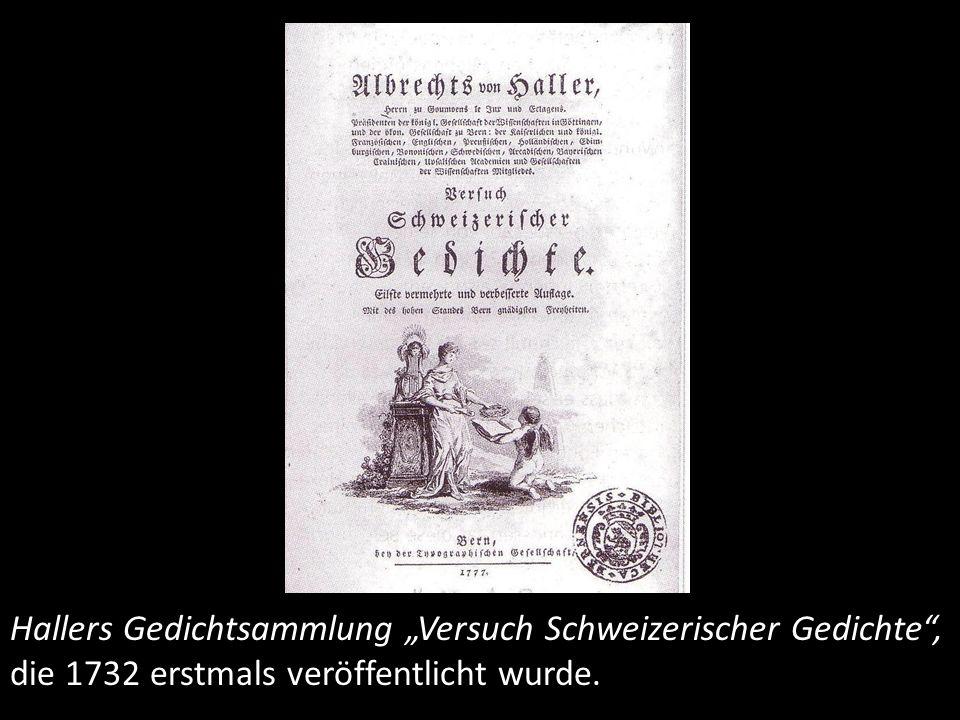 Die Alpen, Kupferstich von B. A. Dunkner zum Gedicht Die Alpen, 1729.