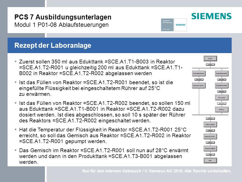 Nur für den internen Gebrauch / © Siemens AG 2010. Alle Rechte vorbehalten. Zuerst sollen 350 ml aus Edukttank =SCE.A1.T1-B003 in Reaktor =SCE.A1.T2-R