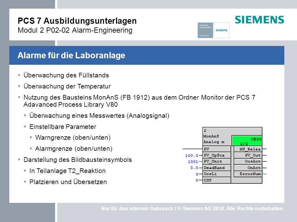 Nur für den internen Gebrauch / © Siemens AG 2010. Alle Rechte vorbehalten. Überwachung des Füllstands Überwachung der Temperatur Nutzung des Baustein