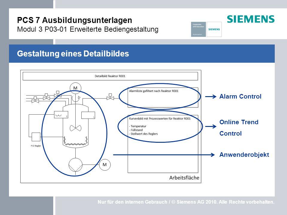 Nur für den internen Gebrauch / © Siemens AG 2010. Alle Rechte vorbehalten. Gestaltung eines Detailbildes PCS 7 Ausbildungsunterlagen Modul 3 P03-01 E