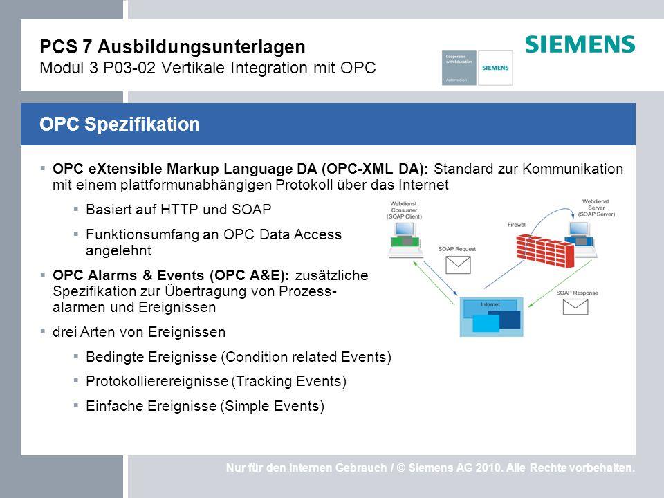 Nur für den internen Gebrauch / © Siemens AG 2010. Alle Rechte vorbehalten. OPC eXtensible Markup Language DA (OPC-XML DA): Standard zur Kommunikation