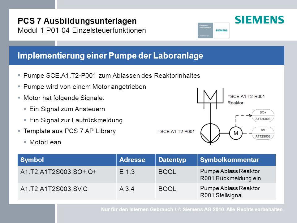 Nur für den internen Gebrauch / © Siemens AG 2010. Alle Rechte vorbehalten. Pumpe SCE.A1.T2-P001 zum Ablassen des Reaktorinhaltes Pumpe wird von einem