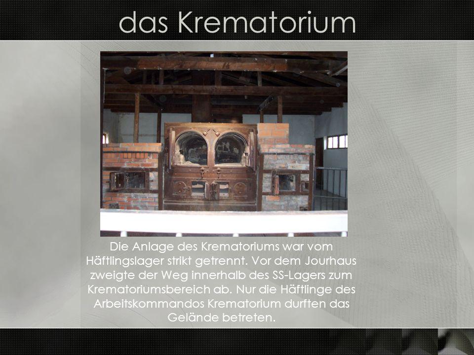 das Krematorium Die Anlage des Krematoriums war vom Häftlingslager strikt getrennt. Vor dem Jourhaus zweigte der Weg innerhalb des SS-Lagers zum Krema