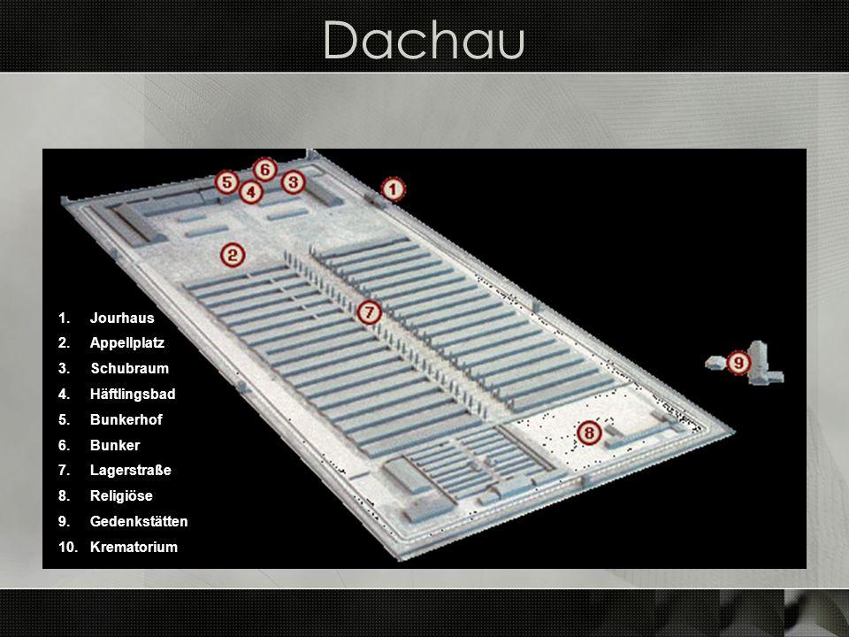 Dachau 1.Jourhaus 2.Appellplatz 3.Schubraum 4.Häftlingsbad 5.Bunkerhof 6.Bunker 7.Lagerstraße 8.Religiöse 9.Gedenkstätten 10.Krematorium